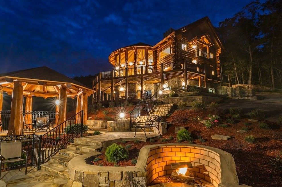 Wardcraft Homes for a Craftsman Spaces with a Log Home Builders and Spyglass Lodge, Mineral Bluff, Georgia by Cascade Handcrafted Log Homes
