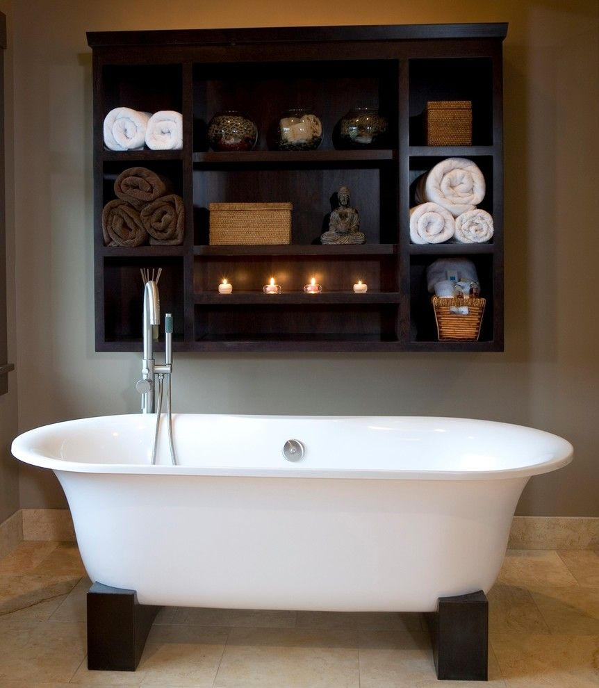 Warner Robins Supply for a Asian Bathroom with a Neutral Colors and Balinese Influenced Bath by Robin Rigby Fisher CMKBD/CAPS