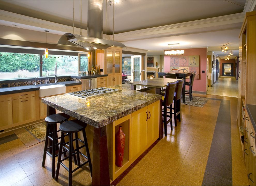 Warner Robins Supply for a Asian Kitchen with a Vaulted Ceiling and Balinese Influenced Kitchen by Robin Rigby Fisher Cmkbd/caps