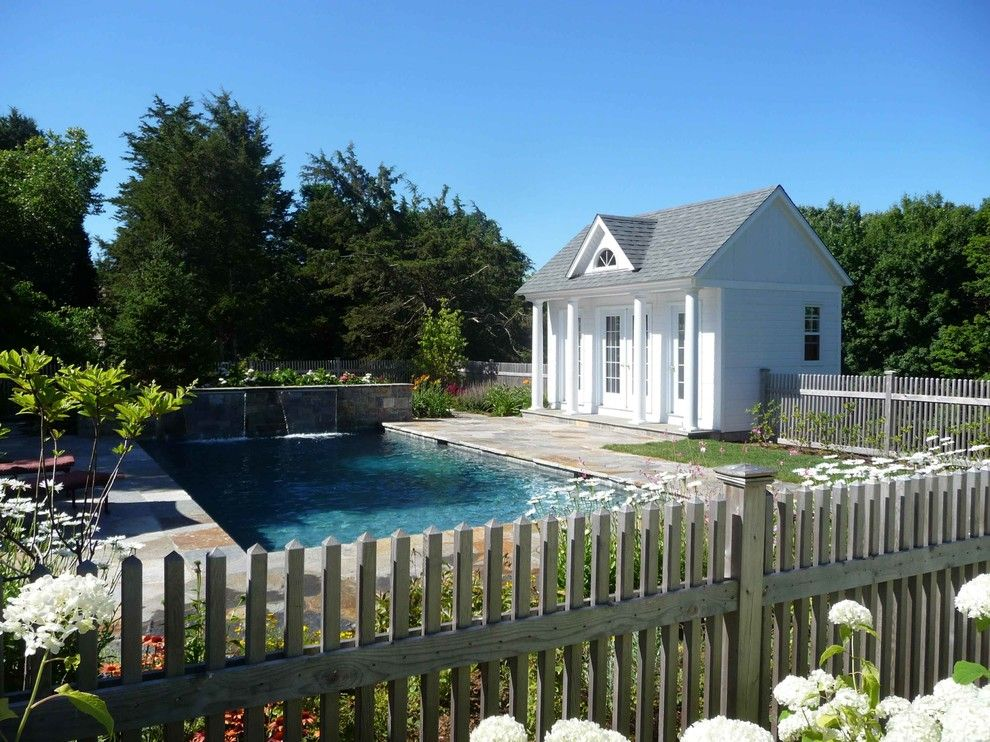 Water Spicket for a Traditional Pool with a Landscape and North Madison Residence by Christensen Landscape Services