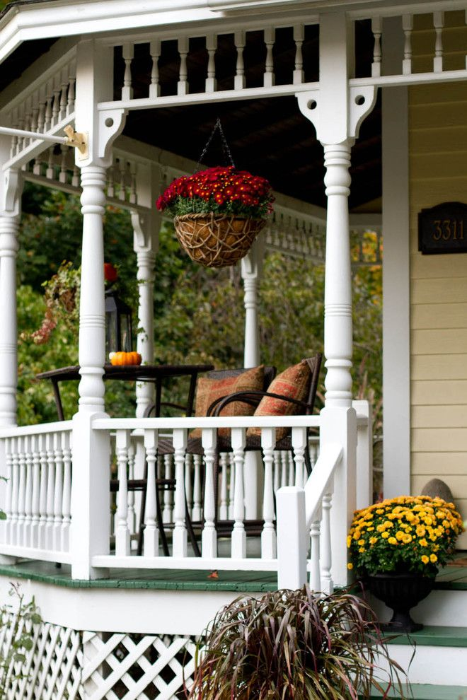 Water Spigot for a Victorian Porch with a Green Patio and Fall Style by Rikki Snyder