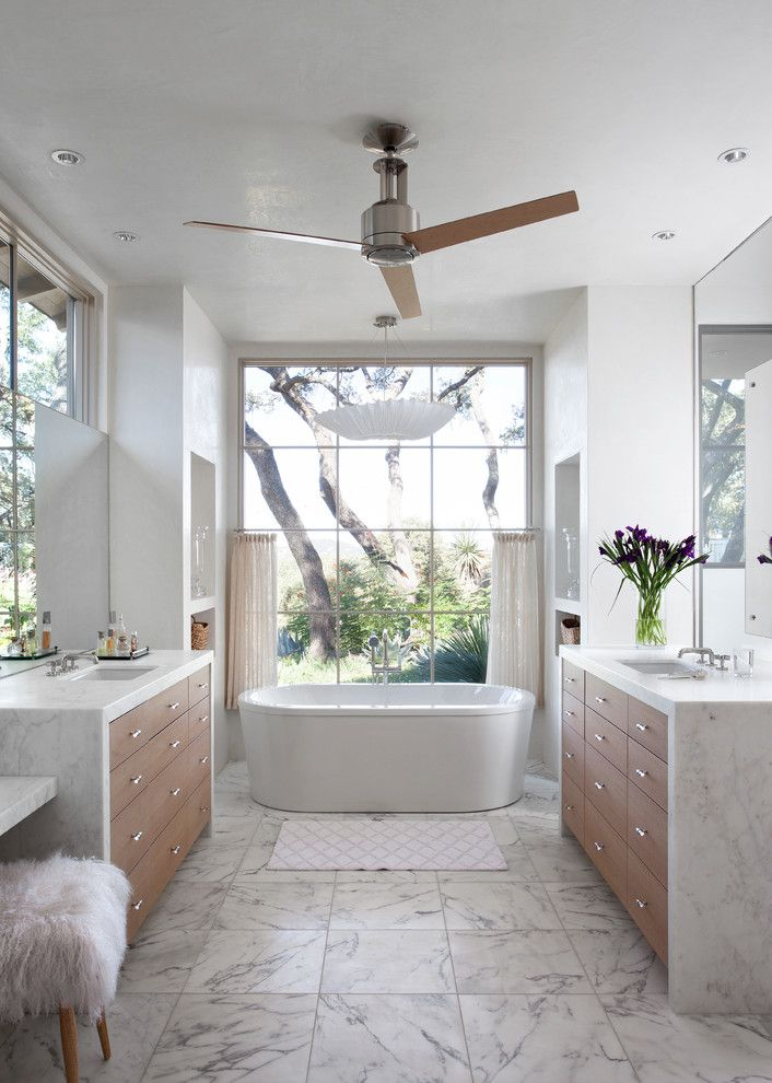 Waterfall Countertop for a Mediterranean Bathroom with a White Countertop and Richard Lane by Ryan Street & Associates