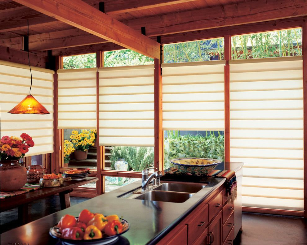 Wausau Windows for a Contemporary Kitchen with a Window Treatments and Draperies and Kitchen Ideas by Accent Window Fashions Llc