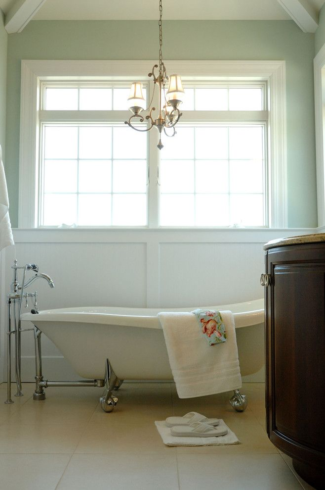 Waynes Coating for a Traditional Bathroom with a Chandelier and Owner's Bath by Echelon Custom Homes