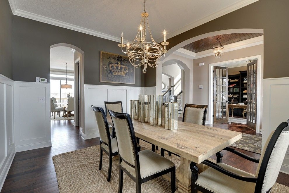 Waynes Coating for a Traditional Dining Room with a Crown Moulding and Dining Room   Kintyre Model   2014 Spring Parade of Homes by Gonyea Homes & Remodeling