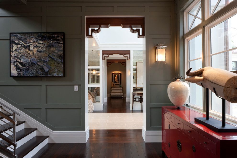 Waynes Coating for a Transitional Hall with a Console and Tranquil Eclectic Residence by Deakins Design Group