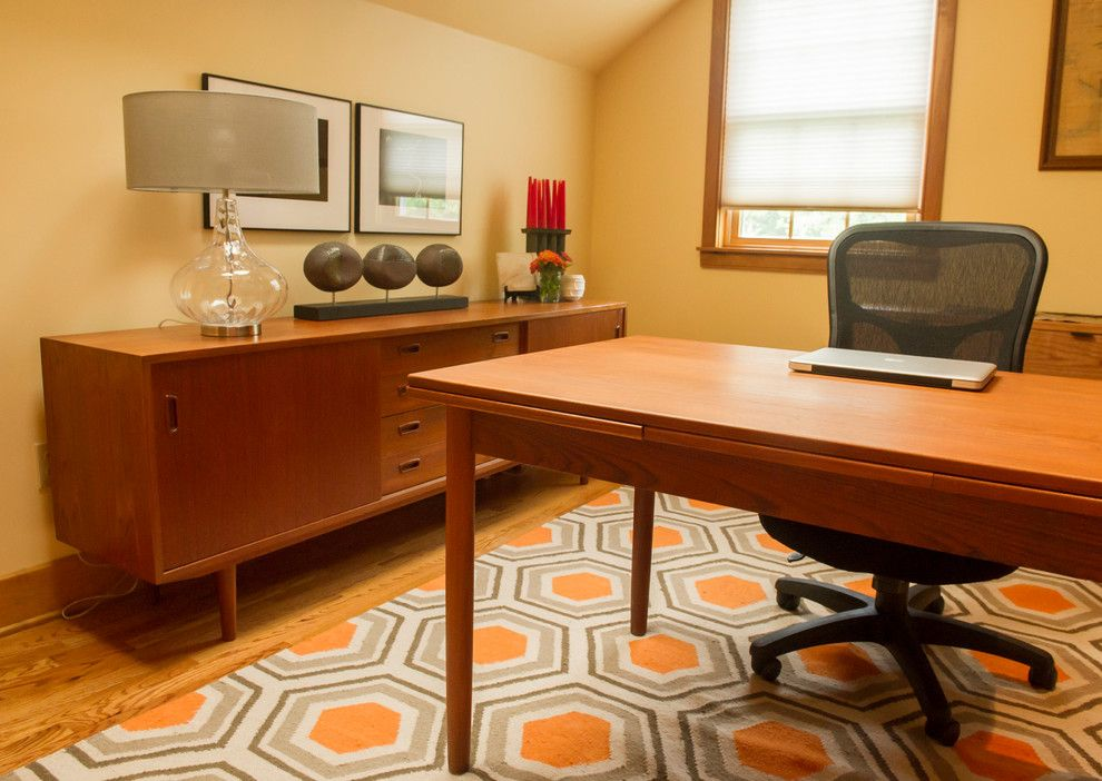 Wayside Furniture for a Modern Home Office with a Yellow and Chatham, Ny Home Office by Bespoke Decor