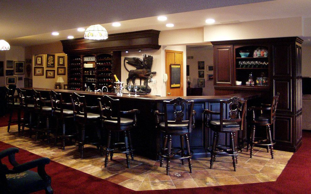 Wayside Furniture For A Traditional Basement With A Bar