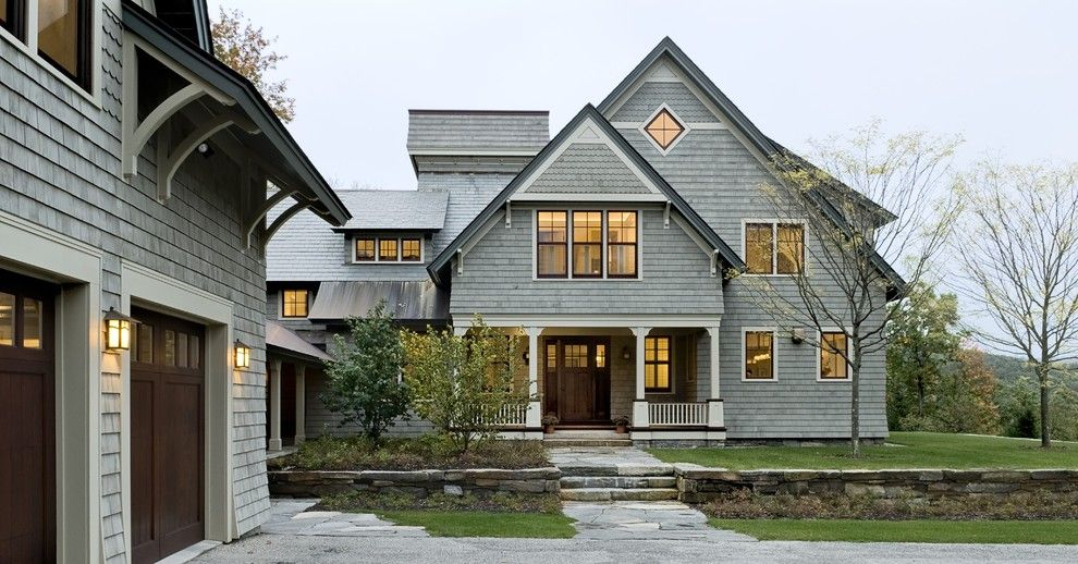 Weathered Wood Shingles for a Victorian Exterior with a White Wood and Shingle Style Home Drive Court to Entry Elevation by Smith & Vansant Architects Pc