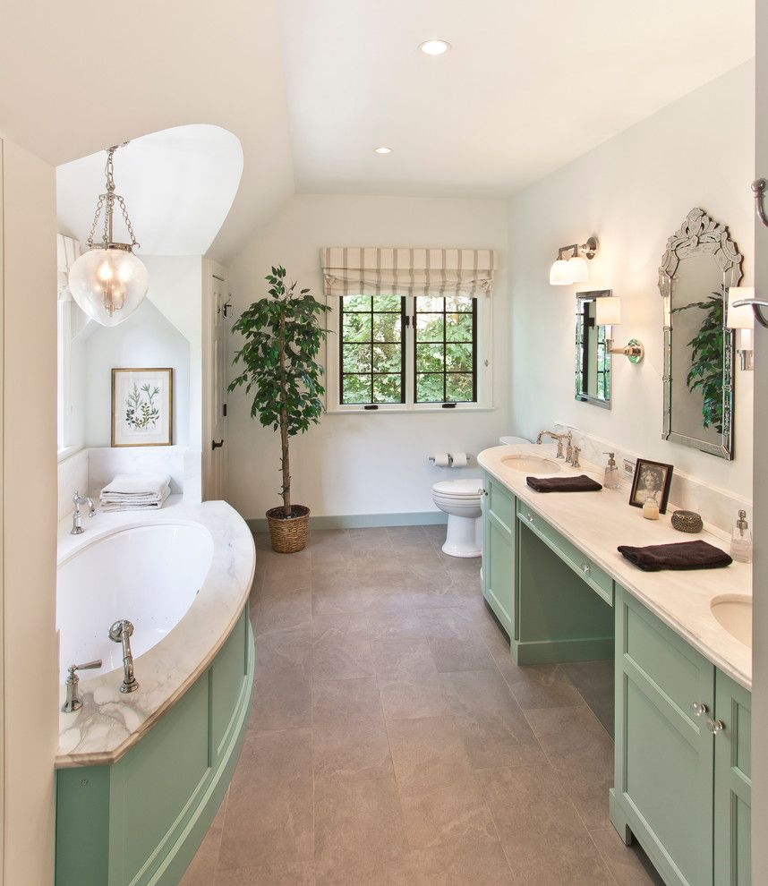 Weathershield Windows for a Traditional Bathroom with a Tile Floor and Master Bathroom by Bennett Frank Mccarthy Architects, Inc.