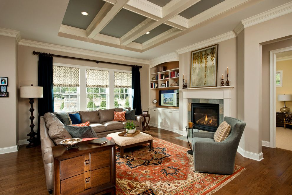 Weathershield Windows for a Traditional Family Room with a Fireplace Mantles and 2014 Showcase of Homes by Belmonte Builders