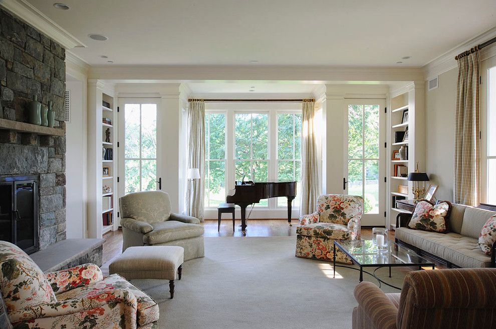 Weathershield Windows for a Traditional Living Room with a Carpet and Farmhouse by Overmyer Architects