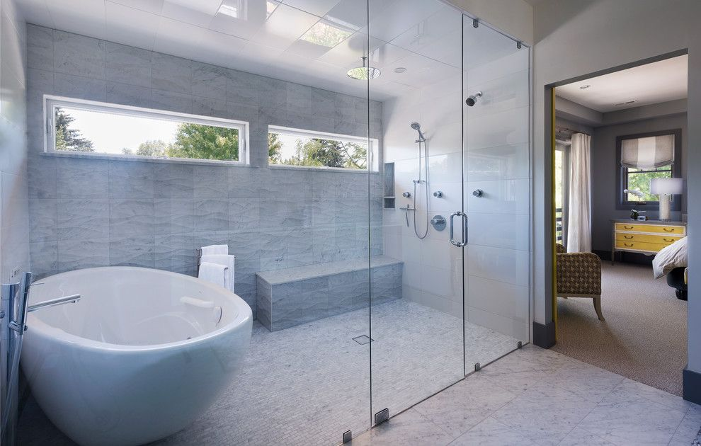 Wells Fargo Reo for a Contemporary Bathroom with a Shower Seat and MASTER SHOWER by Stone Cloud Design Build