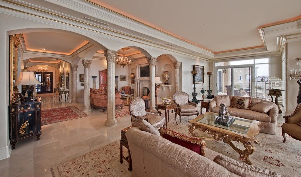 Wesley Hall Furniture for a Mediterranean Living Room with a Glass Coffee Table and Italian Marble by Italian Marble, Llc