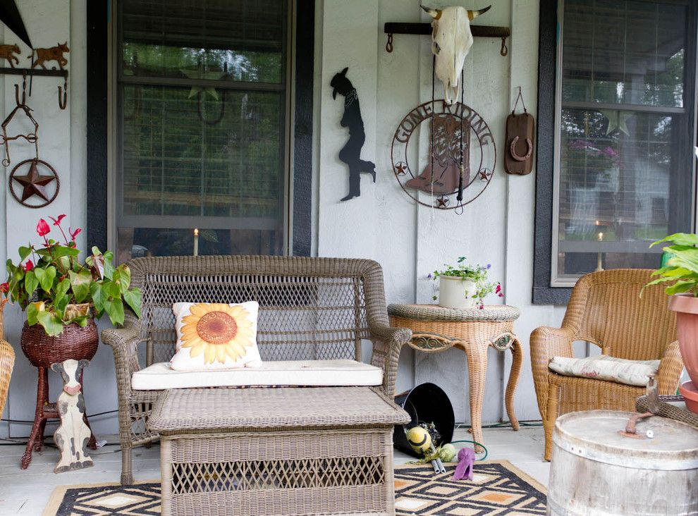 Western Heritage Furniture for a Farmhouse Porch with a Patio Furniture and My Houzz: New York Farmhouse with a Western Feel by Rikki Snyder