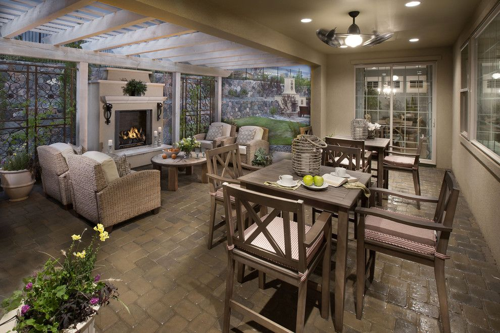Western Heritage Furniture for a Mediterranean Porch with a Climbing Plants and the Overlook at Heritage Hills by Celebrity Communities