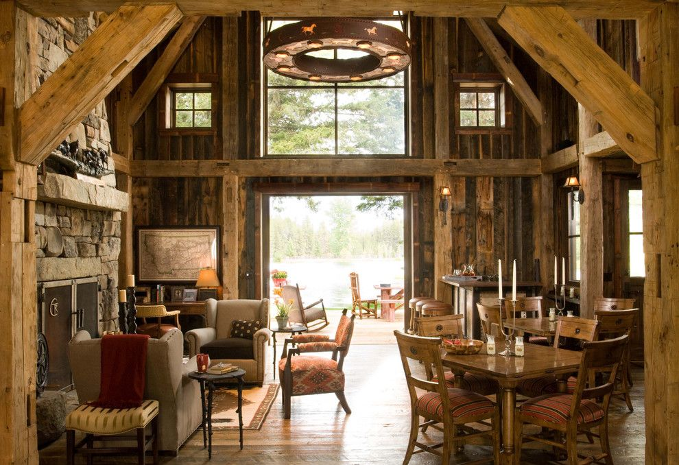 Western Heritage Furniture for a Rustic Living Room with a Reclaimed Wood and Heritage Cabin by Rmt Architects