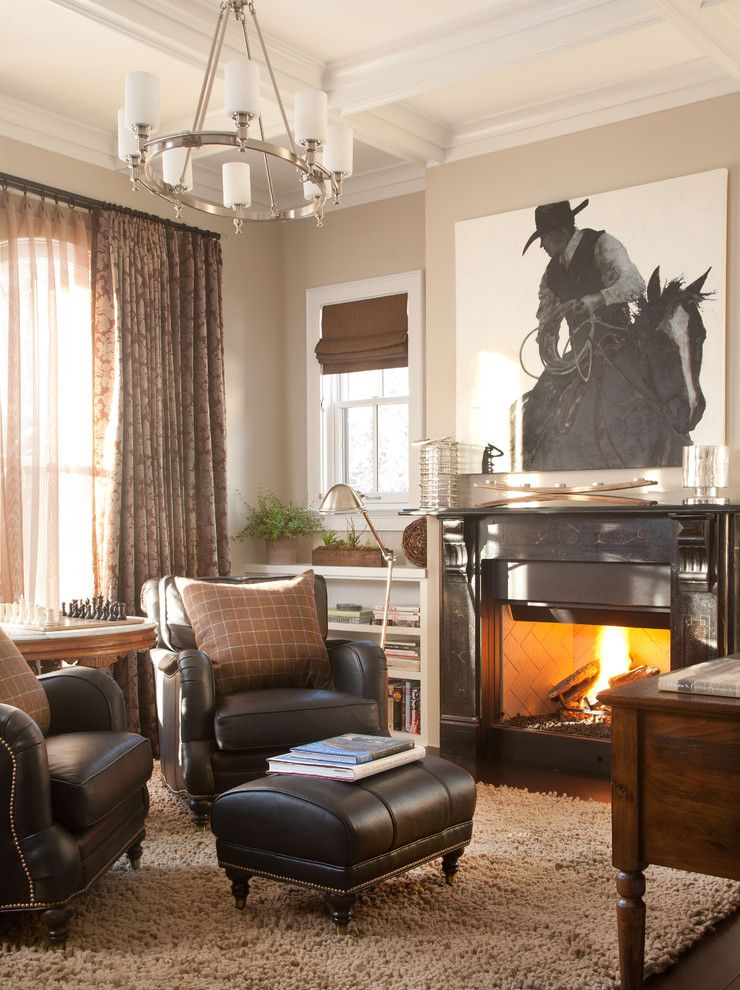 Western Heritage Furniture for a Traditional Home Office with a Built in Bookcase and Chalet Interiors by Chalet