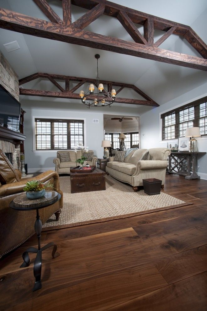 Western Heritage Furniture for a Traditional Living Room with a Walnut Flooring and Heritage Wide Plank Flooring by Heritage Wide Plank Flooring