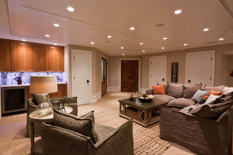 Westfield Lighting for a Contemporary Basement with a Basement and Custom Baseament for the Audiophile, the Oenophile, and the Exercise Enthusiast by Michael Robert Construction