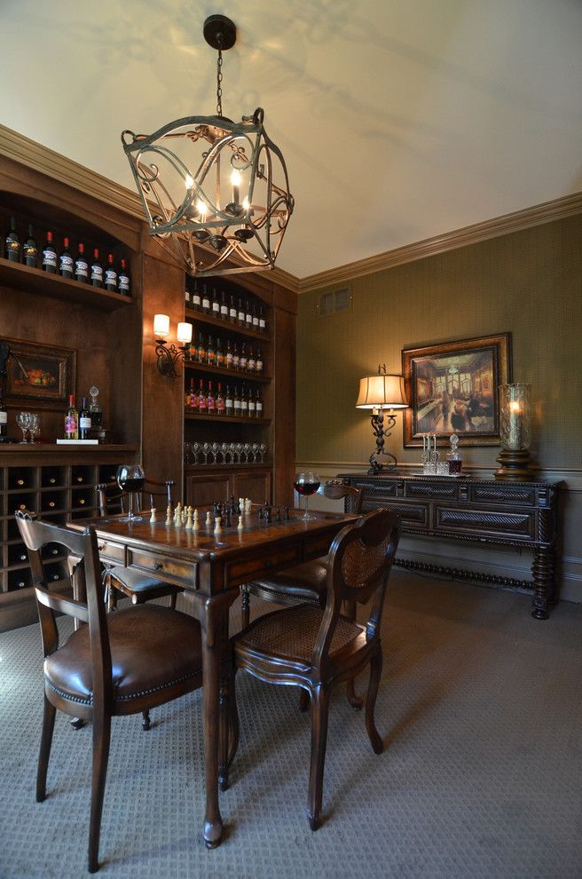 Westfield Lighting for a Traditional Wine Cellar with a Wine Shelves and Hgtv   Showhouse Showdown Home 1 by Cobblestone Homes