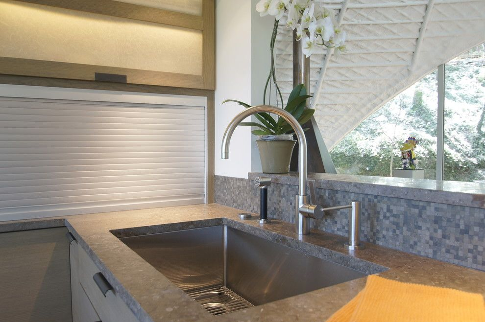 Westlake Residential for a Modern Kitchen with a Lagos Blue Stone and Westlake Kitchen Remodel by Meier Residential
