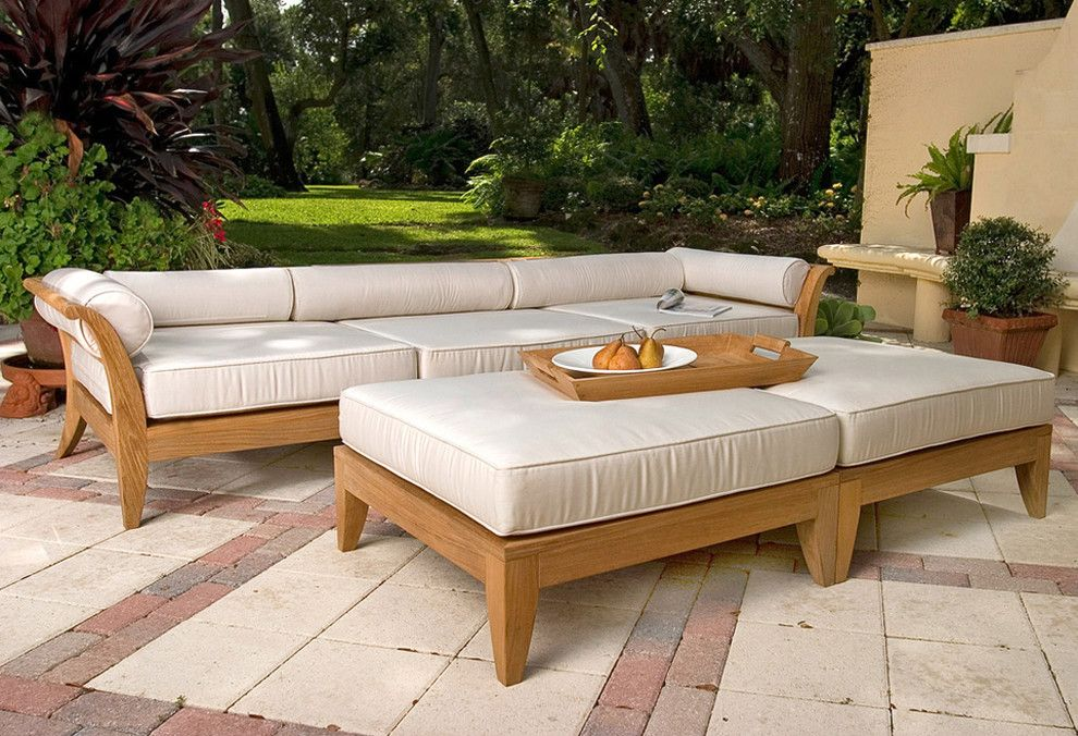 Westminster Teak for a Asian Patio with a Sunbrella and Aman Dais 5pc Teak Sofa Set by Westminster Teak
