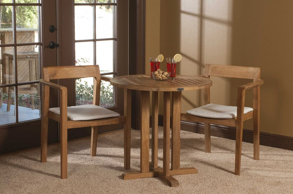 Westminster Teak for a Modern Dining Room with a Indoor Outdoor Living and Horizon 3 Pc Teak Bistro Set by Westminster Teak
