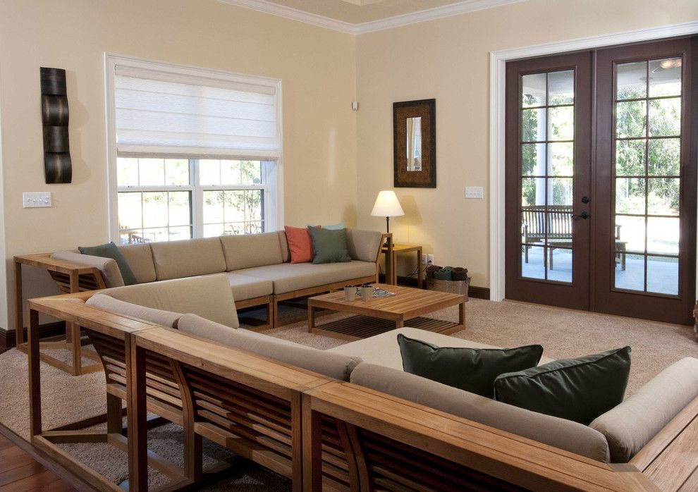 Westminster Teak for a Modern Living Room with a Teak Sectional Sofa and Maya 7 Pc Teak Sectional Set by Westminster Teak