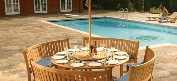 Westminster Teak for a Transitional Patio with a Round Teak Bench Dining Set and Buckingham Bench Dining Set by Westminster Teak