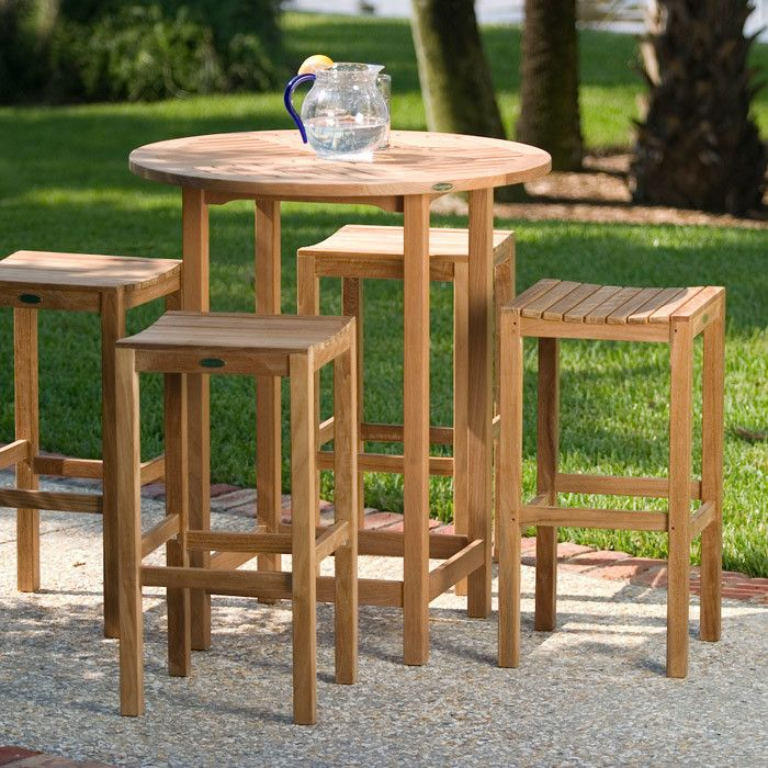 Westminster Teak for a Transitional Patio with a Teak Backless Barstool and Teak Backless Bar Table Set by Westminster Teak