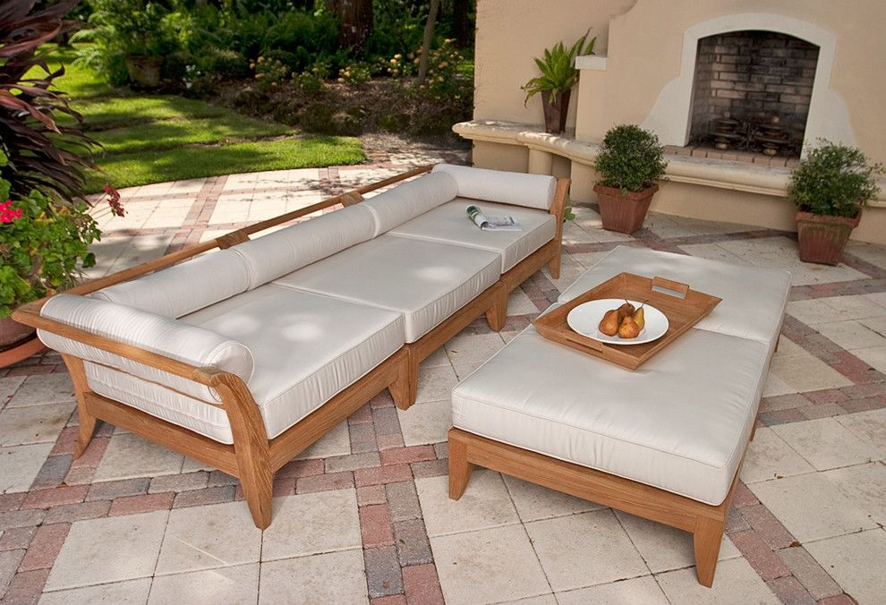 Westminster Teak for a Transitional Patio with a Teak Sectional Sofa and Aman Dais 5pc Teak Sofa Set by Westminster Teak