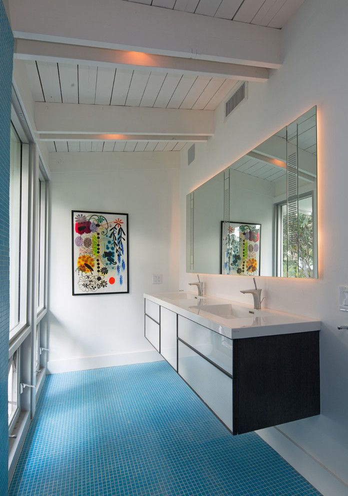 Wetstyle for a Contemporary Bathroom with a Blue Tile Floor and Residence   Lantana, Fl by Silberstein Architecture