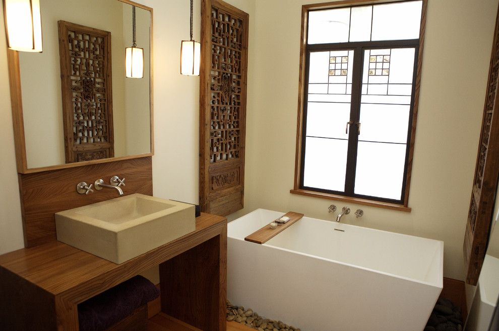 Wetstyle for a Contemporary Bathroom with a Square Sink and Monterey Street Bath by Abueg Morris Architect
