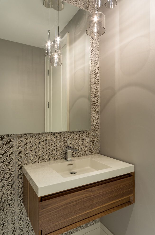 Wetstyle for a Contemporary Powder Room with a Floating Vanity and Florian Condominium Interiors by Jillian Aimis Architect