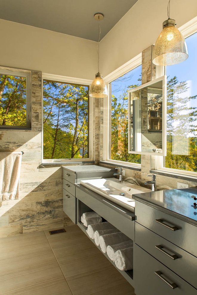 Wetstyle for a Rustic Bathroom with a Open Shelf and Lake Arrowhead Residence   Rda Winner 2014 by Integrity Windows and Doors