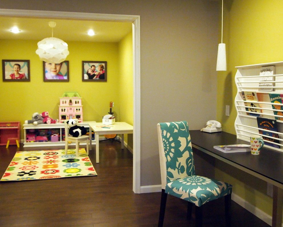 What Color is Chartreuse for a Contemporary Kids with a Reading Area and Happy Bold Kids Basement Playroom by Shoshana Gosselin