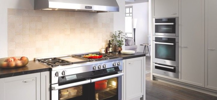 What Color is Chartreuse for a Contemporary Kitchen with a Black Countertop and Miele by Miele Appliance Inc