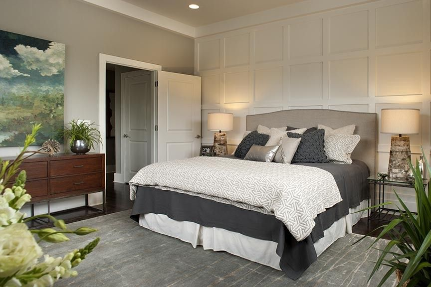 What is a Coverlet for a Contemporary Spaces with a Linen Headboard and Brevard Nc Showhouse by Allard & Roberts Interior Design, Inc