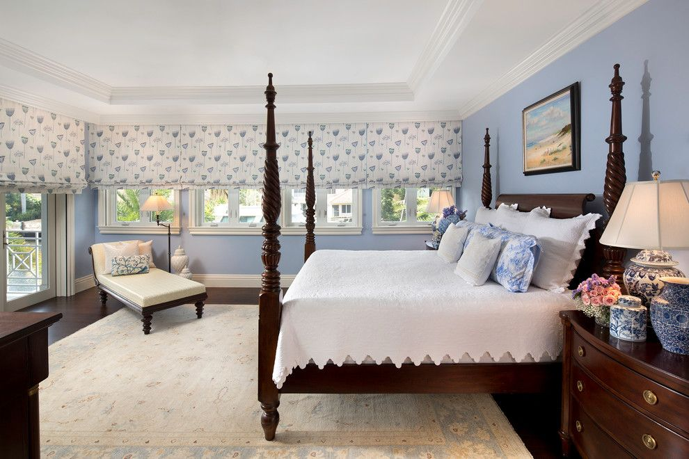 What is a Coverlet for a Traditional Bedroom with a British West Indies Home and Royal Palm Residence by W.a. Bentz Construction, Inc.