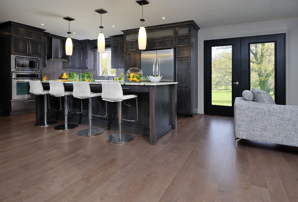 What is Engineered Hardwood for a Contemporary Kitchen with a Mirage Engineered Hardwood Flooring and Mirage Maple Greystone Engineered Hardwood Flooring by Qualityflooring4less.com