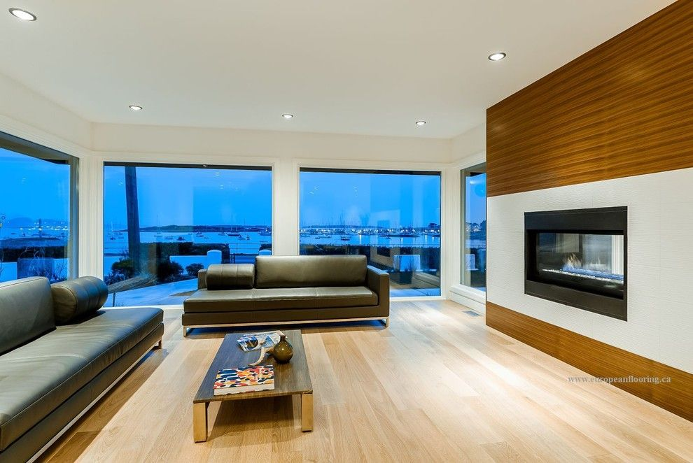 What is Engineered Hardwood for a Contemporary Living Room with a Hardwood Flooring and Beach Drive, Victoria Bc