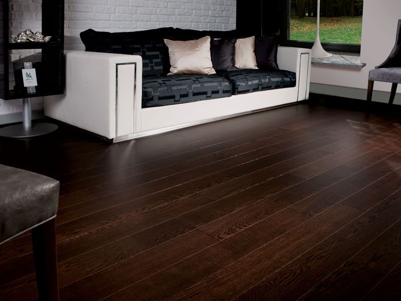 What is Engineered Hardwood for a Traditional Living Room with a Dark Brown Hardwood Flooring and Oak Dark Chocolate by Coswick Hardwood Inc
