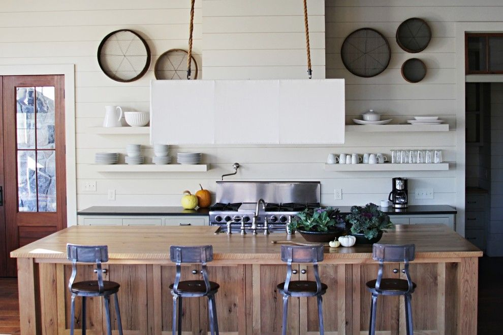What is Shiplap for a Beach Style Kitchen with a Lamp Hanging From Rope and Lake House by Yvonne Mcfadden Llc
