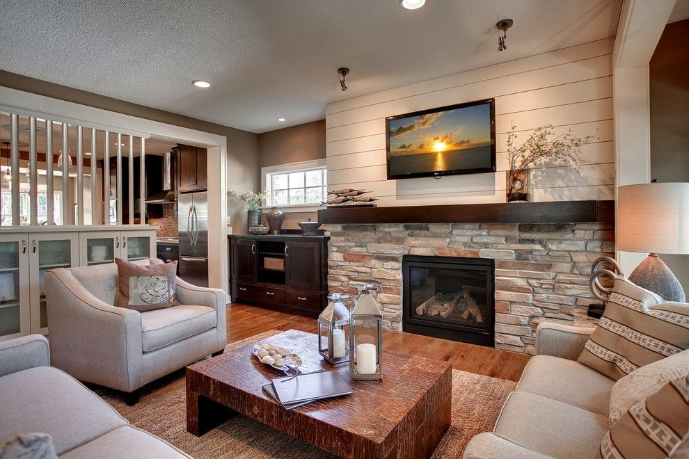 What is Shiplap for a Contemporary Living Room with a Stone Fireplace and 2012 Fall Parade of Homes by Highmark Builders