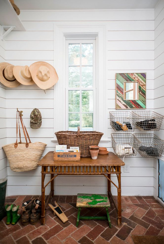 What is Shiplap for a Farmhouse Entry with a Brick and Pittsboro Residence by Alys Design