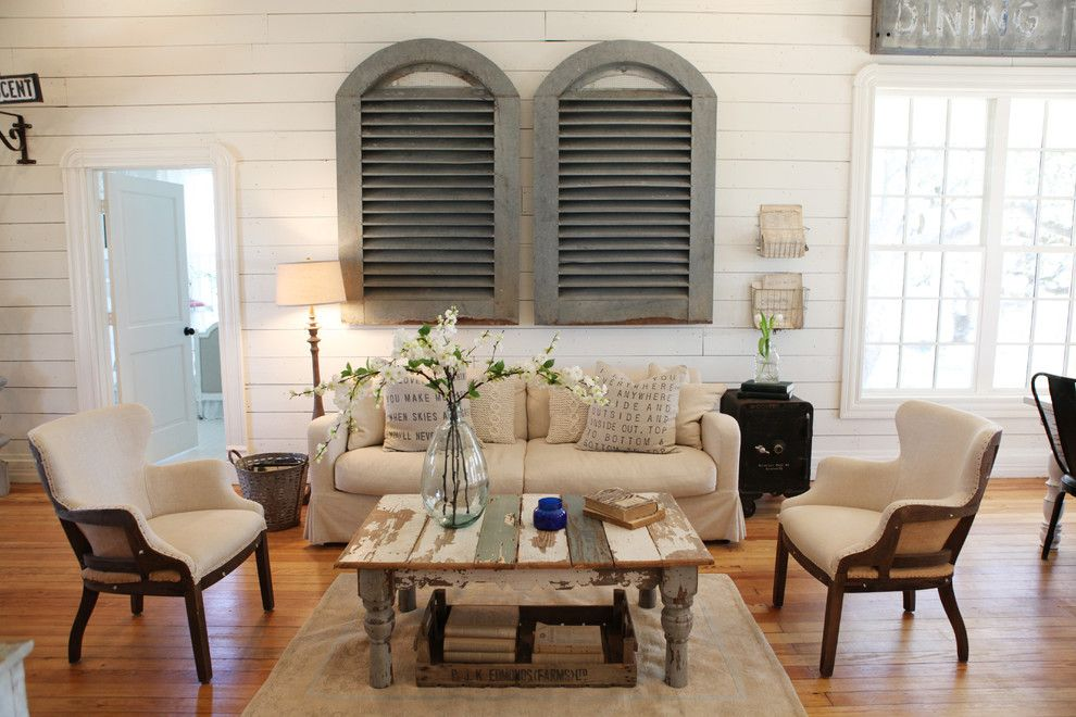 What is Shiplap for a Shabby Chic Style Living Room with a Coffee Table and the Farmhouse by Magnolia Homes