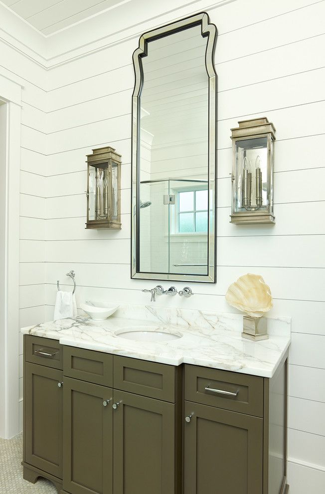 What is Shiplap for a Tropical Bathroom with a Frame and Panel Cabinets and Old Village   Mt. Pleasant by Structures Building Company