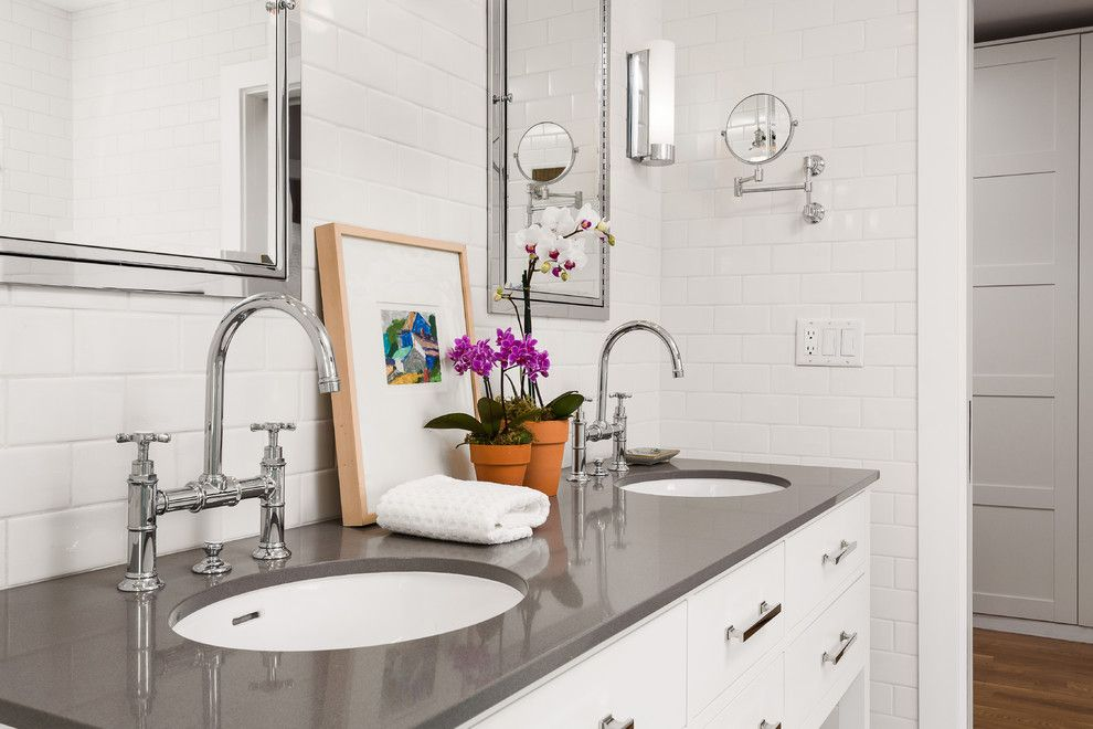 What is Silestone for a Contemporary Bathroom with a Restoration Hardware Vanity and Altadena Bungalow Master Bath Remodel by Robert Frank Design