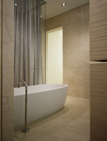 Wheeler Metals for a Contemporary Bathroom with a Metal Mesh and Contemporary Metal Mesh Drapery by Whiting & Davis